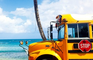 Beach school bus